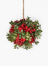 Red Berry & Leaves Kissing Ball