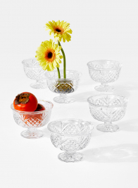 Four Leaf Clover Glass Compote, Set of 6