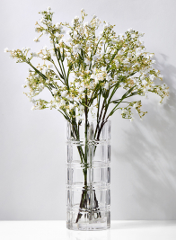 4 1/4 x 9 3/4in Etched Squares Glass Vase