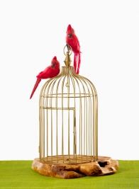 17in Antique Gold Metal Wire Birdcage