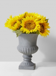 classic urn with sunflower arrangement