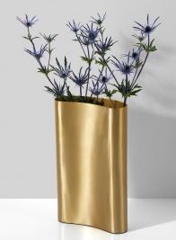 Bretagne Matte Gold Curved Vase, 12in H