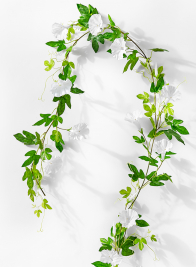 white morning glory flower garland