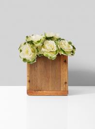 fake ornamental cabbage arrangement in wood box