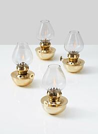 Heritage Mini Brass Oil Lamp, Set of 4
