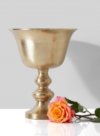 Chateau 12in H Gold Pedestal Urn
