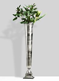 eucalyptus bird of paradise green trumpet vase centerpiece