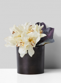 bronze vase with orchid arrangement