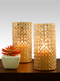 8 1/2in Crystal Bead Gold Pillar Holder