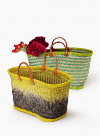Yellow & Deep Purple Ombre Straw Bag With Leather Handles