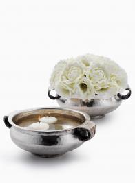 7 1/2in Antiqued Silver Handi Bowl