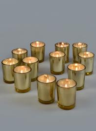 Prefilled Gold Mercury Shotglass Votive, Set of 12