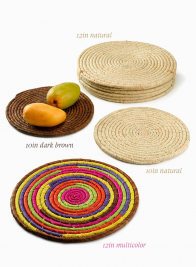 10in Natural Raffia Coaster, Set of 6