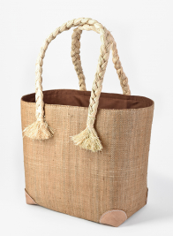 20in Natural Raffia Bag With Braid Handles