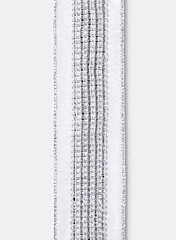 Silver Lurex Trim White Dupioni Ribbon