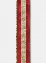 Antique Gold Trim Burgundy Dupioni Ribbon