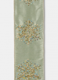 Sequin Snowflake Pale Green Dupioni Ribbon