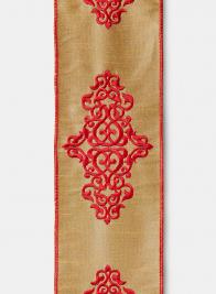 Burgundy Embroidered Damask Gold Dupioni Ribbon