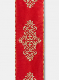 Gold Embroidered Damask Red Dupioni Ribbon