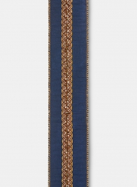 Antique Copper Trim Navy Dupioni Ribbon