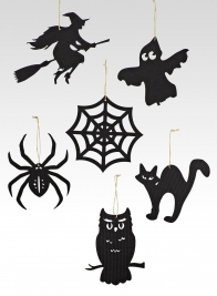 6in Die Cut Black Flying Witch Ornament, Set of 6