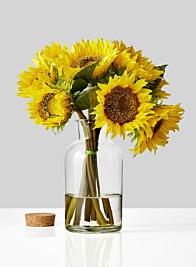 sunflowers in glass bottle vase
