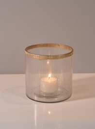 4in x 4in Gold Rim Ribbed Glass Tea Light Holder