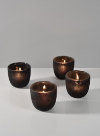 Charcoal Frost Tea Light Holder, Set of 4