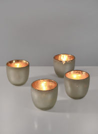 White Pearl Frost Tea Light Holder, Set of 4