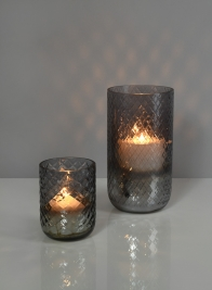 3in x 4in Diamond Cut Smoke Glass Votive Holder