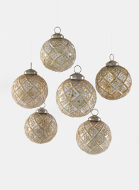 3in Antique White With Gold Glass Ornaments, Set of 6