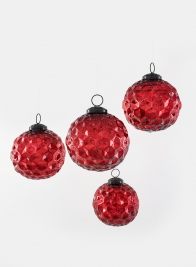 4in Red Diamond Dimple Glass Ball Ornament, Set of 4