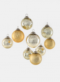 Gold Mix Glass Ornament Balls, Set of 9