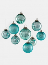 Teal Mix Glass Ornament Balls, Set of 9