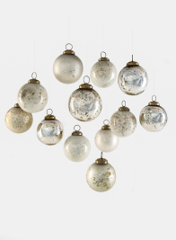 White, Matte & Shiny Silver Vintage Glass Ornaments, Set of 12