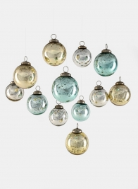 Gold, Silver, & Blue Vintage Glass Ornament Balls, Set of 12