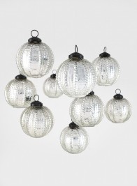 3in Silver Beaded Glass Ornament Ball, Set of 9