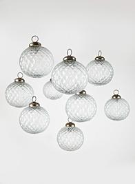 3in Clear Diamond Glass Ornament Balls, Set of 9