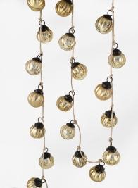 Mini Gold Ribbed Ornament Ball Garland, Set of 24