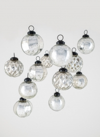 2 1/2in Crackled, Scalloped, & Diamond Silver Mercury Glass Ornaments, Set of 12