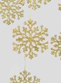 4in Gold Snowflake Ornaments, Set of 6