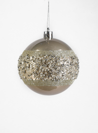 3in Champagne Silver Beaded Plastic Ornament Ball, Set of 12