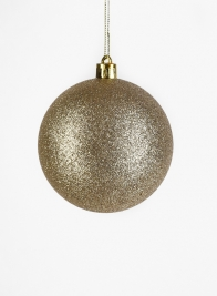 3in Gold Glitter Plastic Ornament Ball, Set of 12