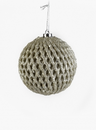 3in Champagne Silver Glitter Fruit Net Ornament Ball, Set of 12