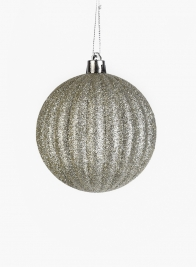 3in Champagne Silver Glitter Pumpkin Ornament Ball, Set of 12