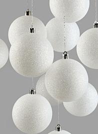 3in White Glitter Ball Ornament,, Set of 12