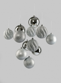 3in Assorted Silver Ornaments,, Set of 12