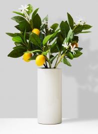 lemon branch arrangement in ceramic vase