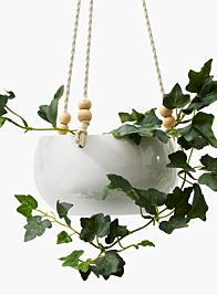White Ceramic Hanging Pot, 7 1/2in