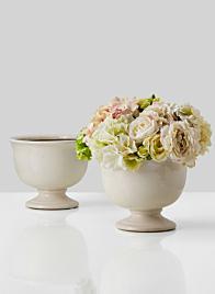 9in Crackled White Ceramic Urn